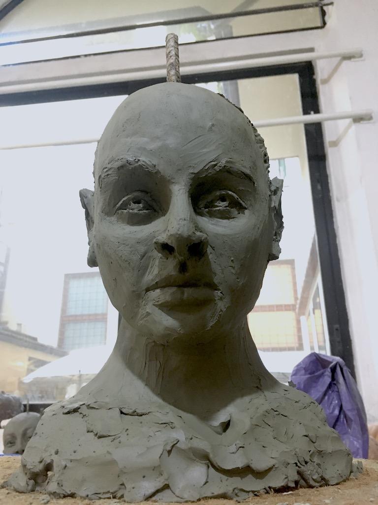 Sculpture of Coco Sean Chanel Ryder in progress