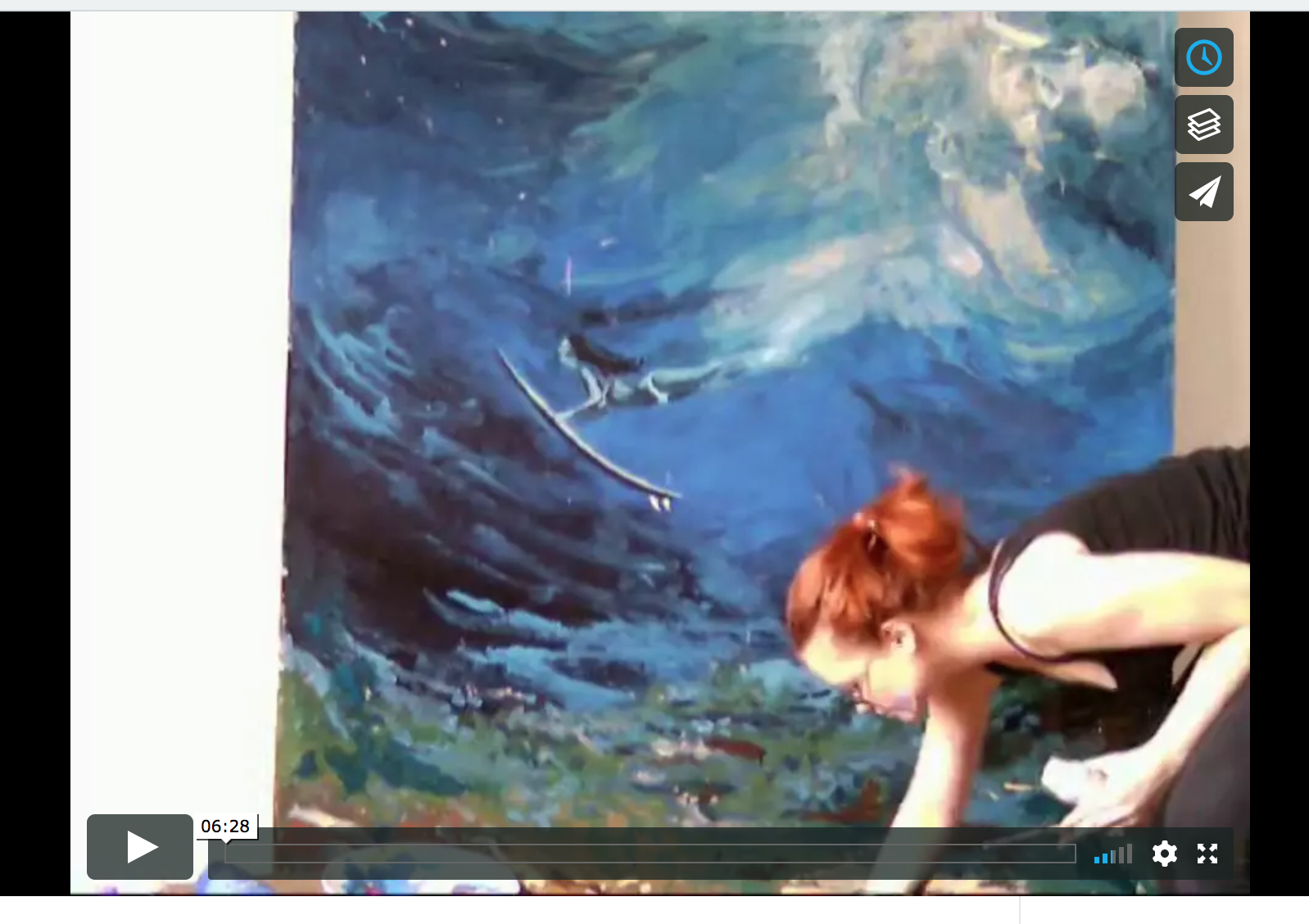 Video made using a webcam.It's featuring a 2X1.6m canvas portraying a surfer at one with nature, diving under a wave. 2011.