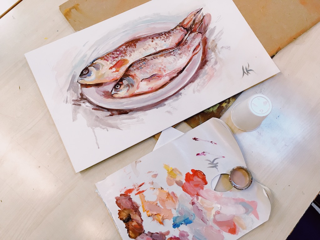 Fish. Study. Oil, canvas. In Progress 2018